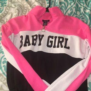 "cropped ""baby girl"" shirt"